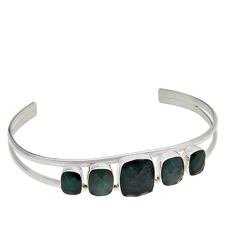 Jay King Sterling Silver Faceted Emerald Cuff Bracelet