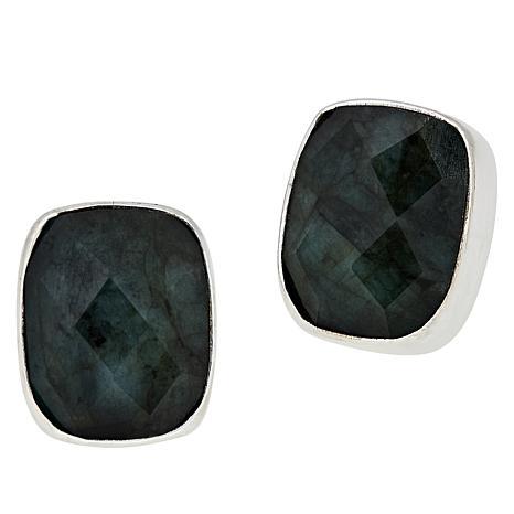 Jay King Sterling Silver Faceted Ethiopian Emerald Earrings