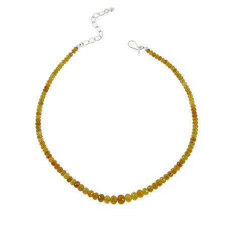 Jay King Sterling Silver Faceted Yellow Sapphire Beaded Necklace