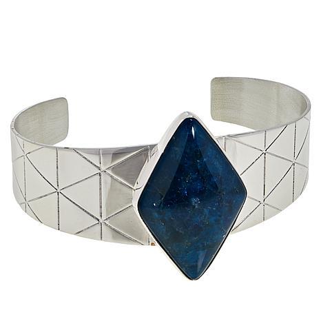 Jay King Sterling Silver Gemstone Diamond-Shaped Cuff Bracelet