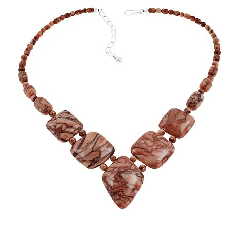 Jay King Sterling Silver Gongshan Red Orchid Stone Necklace