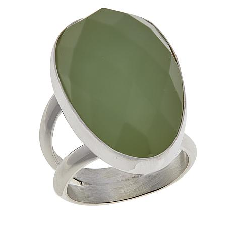 Jay King Sterling Silver Green Calcite Freeform Ring