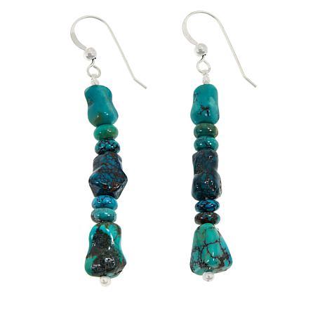 Jay King Sterling Silver Hubei Turquoise Bead Drop Earrings