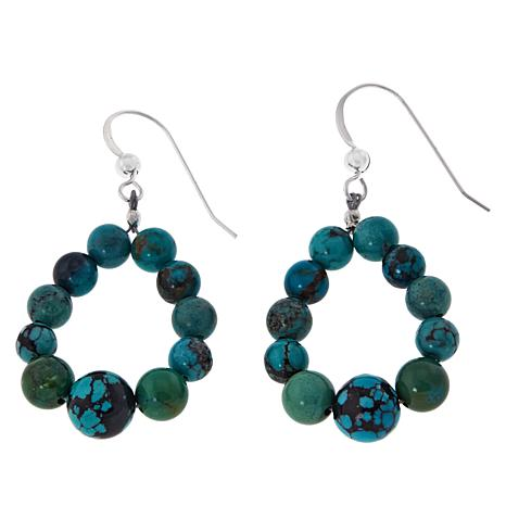 Jay King Sterling Silver Hubei Turquoise Hoop Earrings