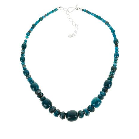 Jay King Sterling Silver Indigo Blue Apatite Bead Necklace