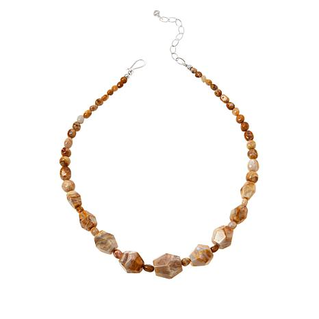 Jay King Sterling Silver Java Lace Agate Beaded Necklace