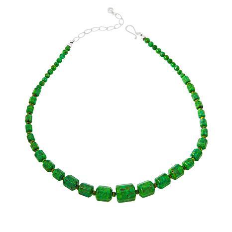 Jay King Sterling Silver Lemon Lime Green Turquoise Bead Necklace