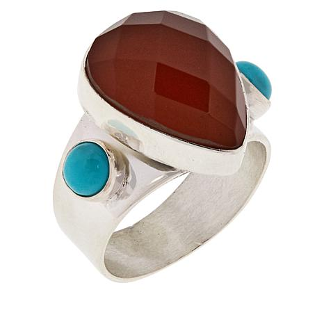 Jay King Sterling Silver Mexican Opal and Campitos Turquoise Ring