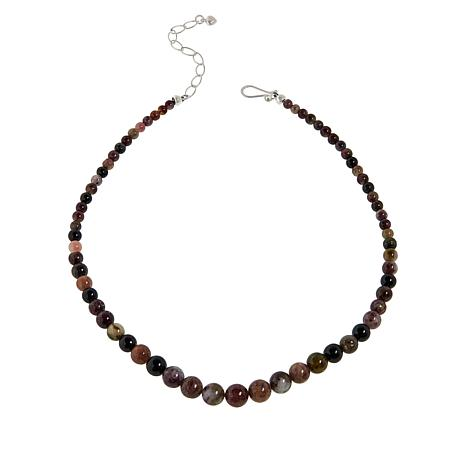 Jay King Sterling Silver Multi-Color Black Tourmaline Bead Necklace