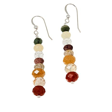 Jay King Sterling Silver Multi-Color Medley Quartzite Bead Earringss