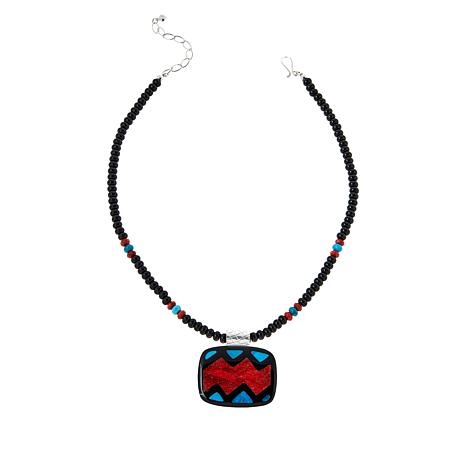 Jay King Sterling Silver Multi-Gemstone Inlay Pendant with Necklace