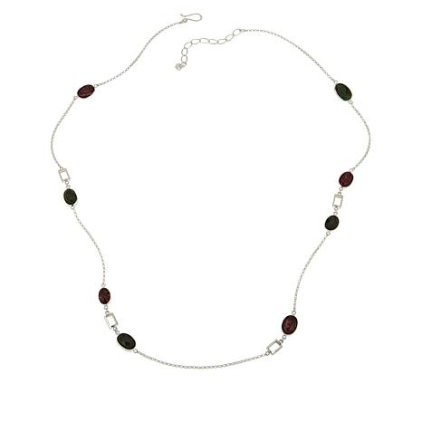 Jay King Sterling Silver Multi-Gemstone Oval Station Chain Necklace