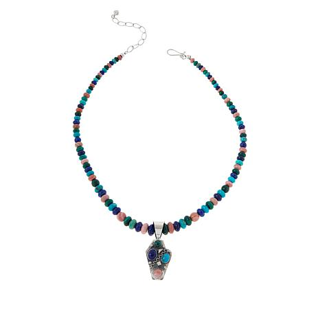 Jay King Sterling Silver Multi-Gemstone Pendant with Bead Necklace