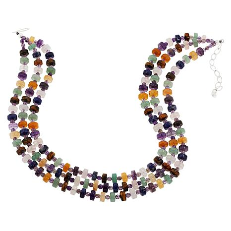 """Jay King Sterling Silver Multi-Gemstone """"Treasures"""" Layered Necklace"""
