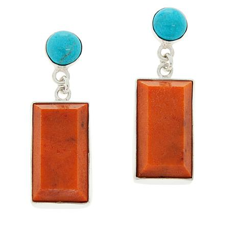 Jay King Sterling Silver Orange Coral and Turquoise Earrings