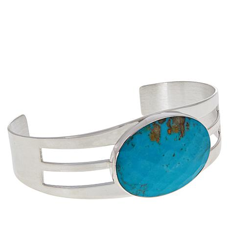 Jay King Sterling Silver Oval Azure Peaks Turquoise Cuff