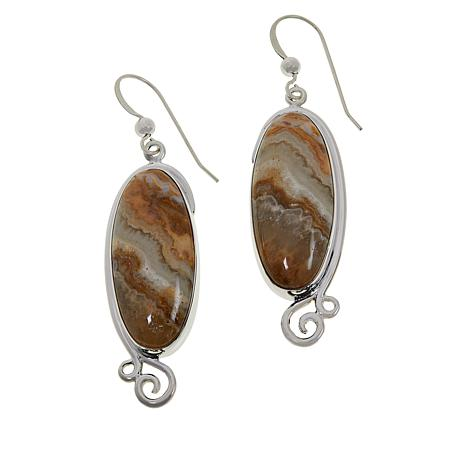 Jay King Sterling Silver Oval Java Lace Agate Sterling Earrings