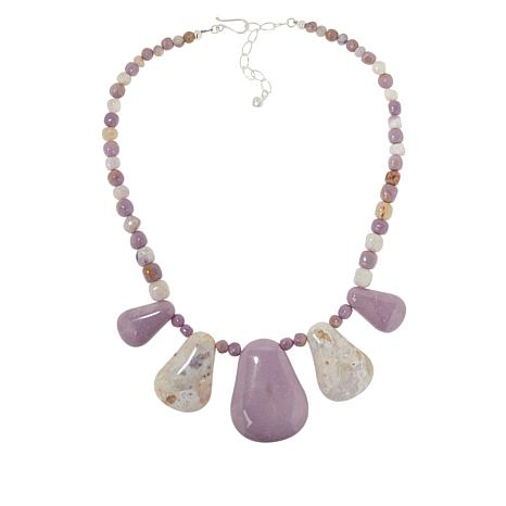 Jay King Sterling Silver Phosphosiderite and Lavender Opal Necklace