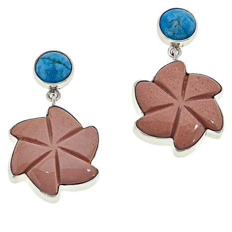 Jay King Sterling Silver Pink Opal and Turquoise Flower Drop Earrings