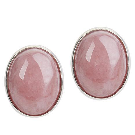 Jay King Sterling Silver Pink Rhodochrosite Button Earrings