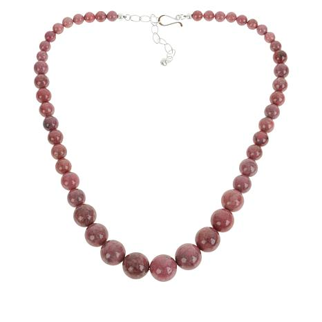 Jay King Sterling Silver Pink Rhodonite Graduated Bead Necklace