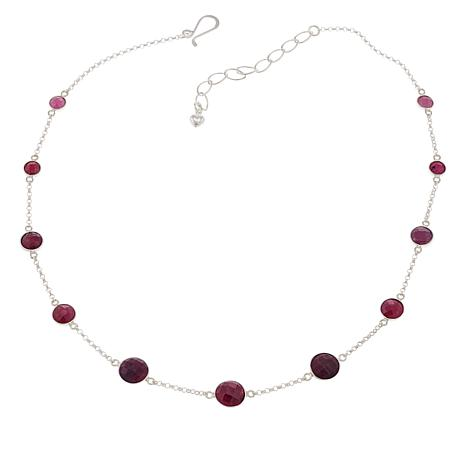 "Jay King Sterling Silver Raspberry Sapphire 18-1/4"" Necklace"