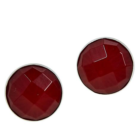 Jay King Sterling Silver Red Sea Bamboo Coral Stud Earrings