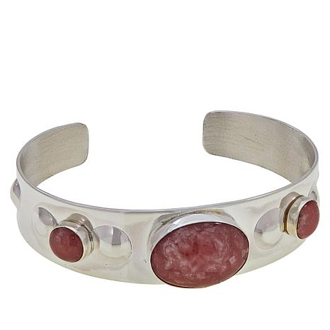 Jay King Sterling Silver Rhodochrosite Oval and Round Cuff Bracelet