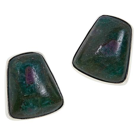 Jay King Sterling Silver Ruby-in-Zoisite Stud Earrings