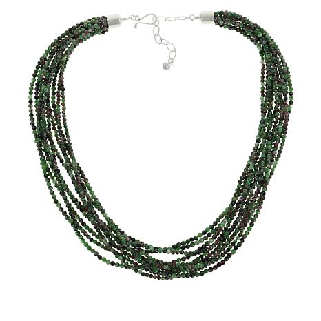 Jay King Sterling Silver Ruby Zoisite Multi-Strand Bead Necklace
