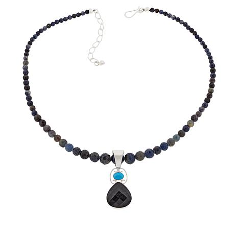 Jay King Sterling Silver Sapphire and Turquoise Pendant with Necklace