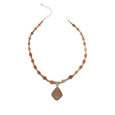 Jay King Sterling Silver Sunstone Pendant with Necklace