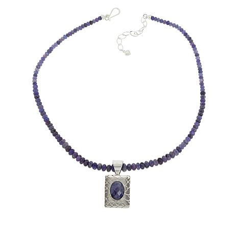 "Jay King Sterling Silver Tanzanite Pendant and 18"" Beaded Necklace"
