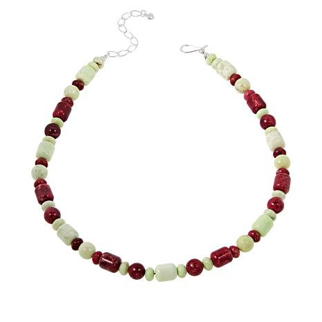 Jay King Sterling Silver Thulite and Meadow Stone Bead Necklace