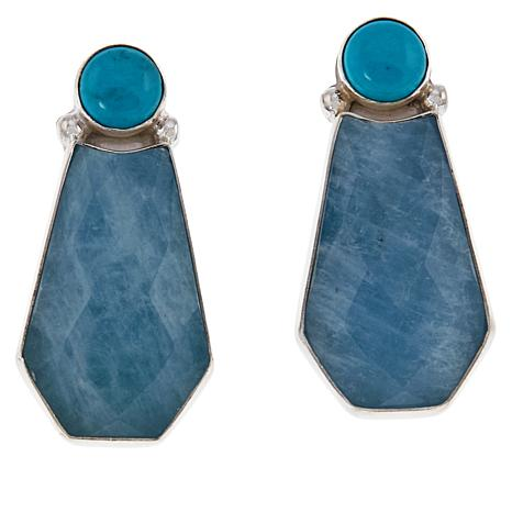 Jay King Sterling Silver Turquoise and Aquamarine Stud Earrings