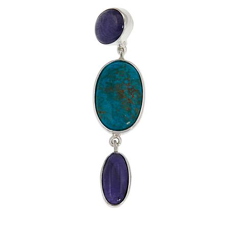 Jay King Sterling Silver Turquoise and Tanzanite 3-Stone Pendant
