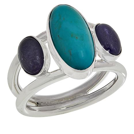 Jay King Sterling Silver Turquoise and Tanzanite Ring