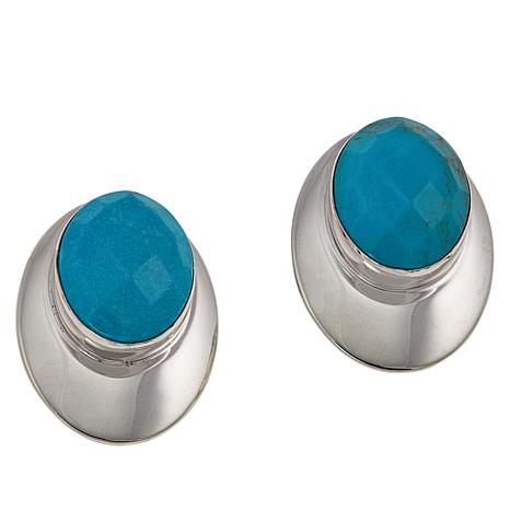 Jay King Sterling Silver Turquoise Oval Stone Clip-On Earrings