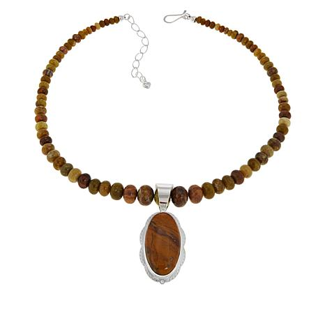 Jay King Sterling Silver Volcanic Opal Pendant with Beaded Necklace