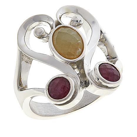 Jay King Sterling Silver Yellow and Pink Sapphire Ring