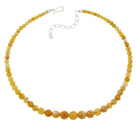 Jay King Sterling Silver Yellow Opal Beaded Necklace