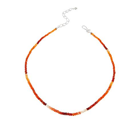 """Jay King Sunset Fire Opal Bead 18-1/4"""" Sterling Silver Necklace"""