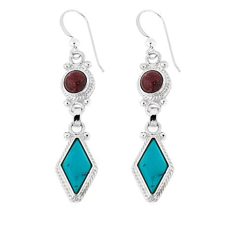 Jay King Thulite and Andean Blue Turquoise Drop Earrings
