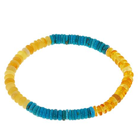 Jay King Turquoise and Amber Bead Stretch Bracelet