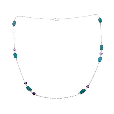 "Jay King Turquoise and Amethyst 36"" Chain Necklace"