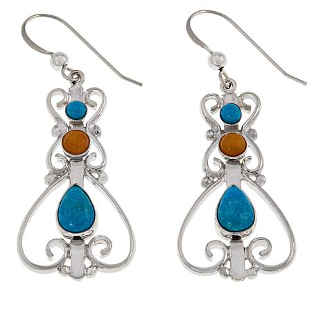 Jay King Turquoise and Butterscotch Amber Earrings