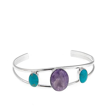 Jay King Turquoise and Charoite Sterling Silver Cuff Bracelet