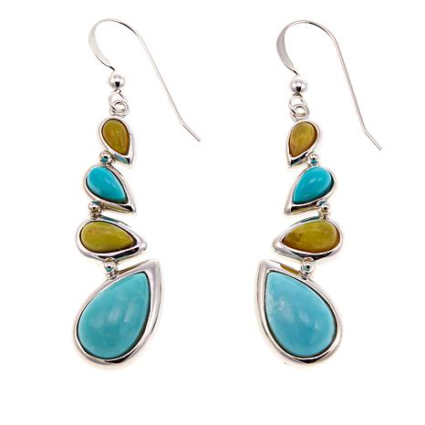 Jay King Turquoise and Green Opal Sterling Silver Earrings