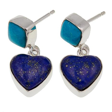 Jay King Turquoise and Lapis Heart Drop Sterling Silver Earrings