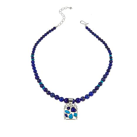 Jay King Turquoise and Lapis Sterling Silver Pendant with Necklace